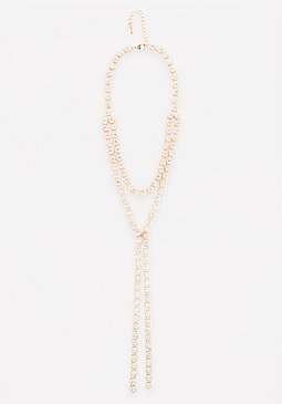 bebe Crystal Layered Lariat