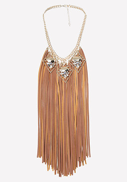 bebe Long Fringe Necklace