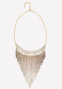 bebe Crystal & Fringe Necklace