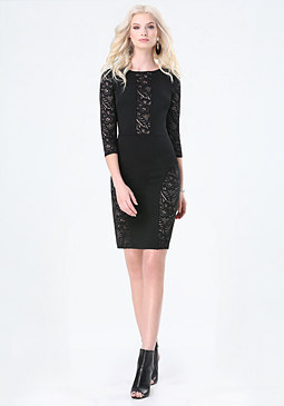 bebe Sheer Lace Paneled Dress