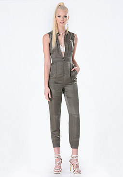 bebe Cupro Zip Detail Jumpsuit