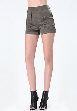 bebe Cupro Topstitched Shorts