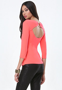 bebe Back O-Ring Shirred Top