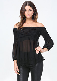 Silk Off Shoulder Top