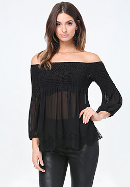 bebe Silk Off Shoulder Top