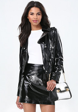 bebe Patent Leather Moto Jacket