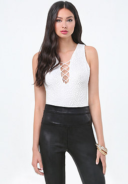 bebe Lace Front Lace Up Bodysuit