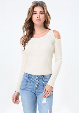 bebe Rib Knit Cold Shoulder Top
