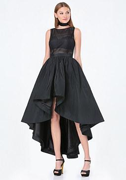 bebe Petite Geo Mesh Hi-Lo Dress