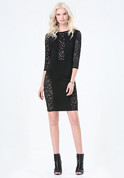 bebe Petite Lace Paneled Dress