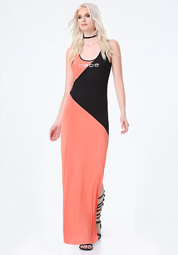bebe Petite Block Maxi Dress