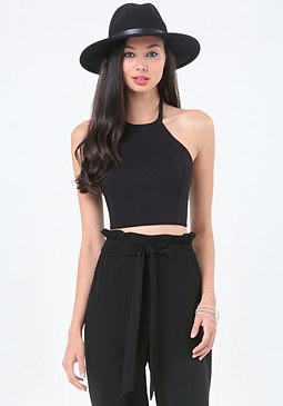 bebe Ponte Halter Crop Top