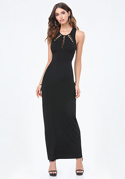 bebe Lace Up Cutout Maxi Dress