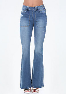 Cargo Pocket Flared Jeans