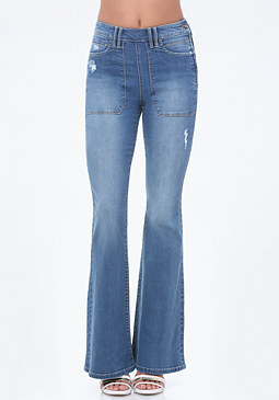 bebe Cargo Pocket Flared Jeans