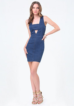 bebe Denim Cutout Dress