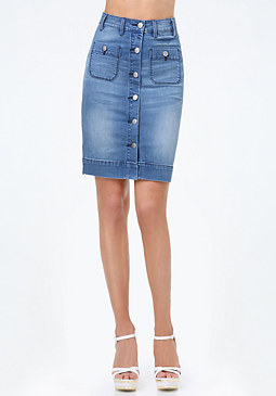 bebe Denim Button Pencil Skirt