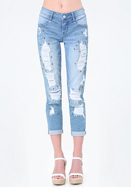 bebe Jeweled Girlfriend Jeans
