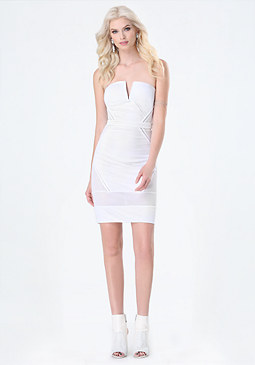 bebe Mesh Strapless Dress