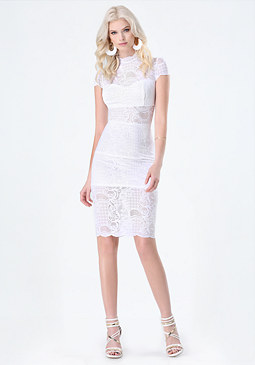 bebe Lace Overlay Midi Dress