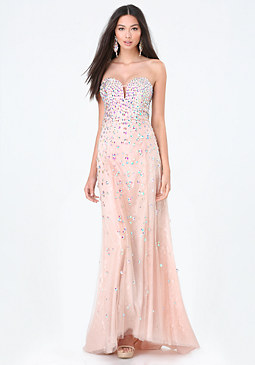 bebe Jeweled Strapless Gown