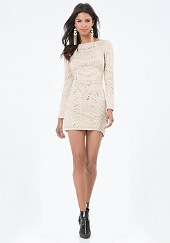 bebe Embellished Quilted Dress