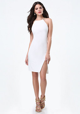 bebe Embellished Neck Slit Dress