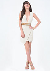 bebe Jewel Waist Plunge Dress