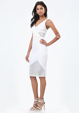 bebe Sleeveless Mesh Inset Dress