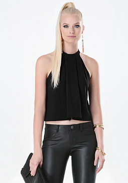 bebe Pleated Trapeze Halter Top