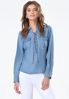 Chambray Lace Up Shirt
