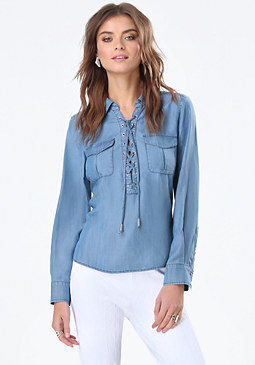 bebe Chambray Lace Up Shirt