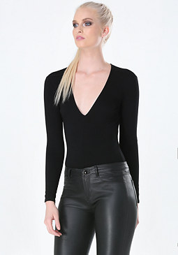 bebe Long Sleeve Deep V Bodysuit