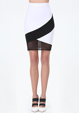 bebe Colorblock & Mesh Skirt