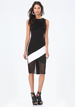 bebe Colorblock & Mesh Dress
