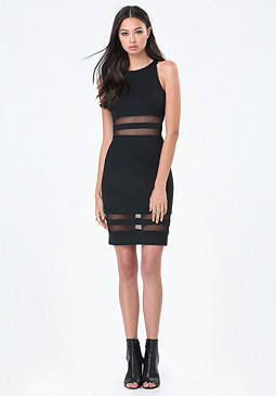 bebe Mesh Inset Racerback Dress