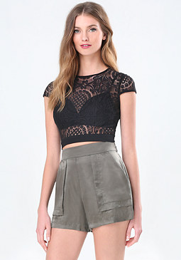 bebe Felicity Lace Crop Top