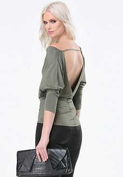 bebe Back V-Neck Cowl Top