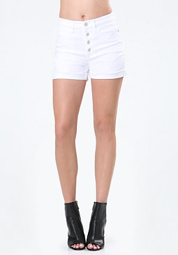 bebe White Exposed Button Shorts