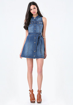 bebe Denim Sleeveless Shirtdress