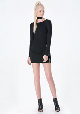 bebe Front Zip Bodycon Dress