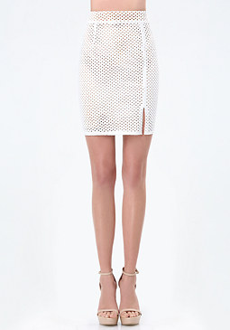 bebe Perforated Faux Suede Skirt