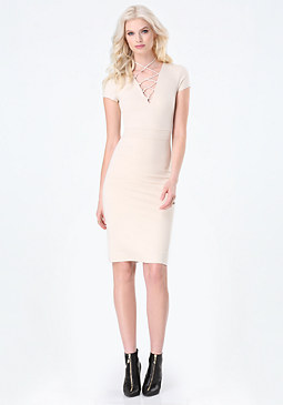 bebe Lace Up Midi Dress