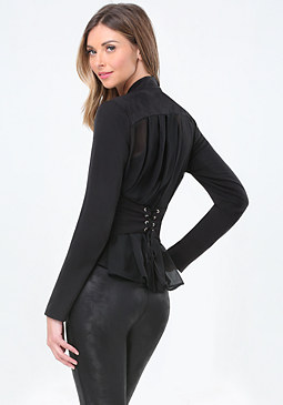 bebe Back Corset Wrap Jacket
