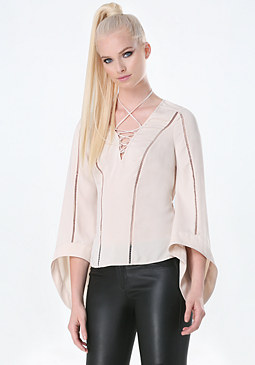 bebe Dramatic Sleeve Lace Up Top