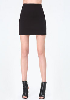 Faux Leather Trim Miniskirt