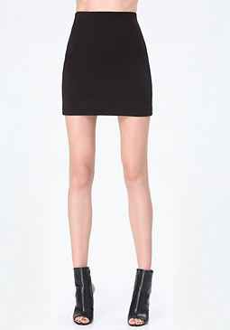 bebe Faux Leather Trim Miniskirt