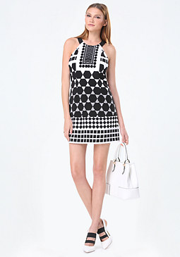 bebe Optic Print A-Line Dress