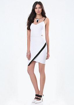bebe Blocked Ponte Cutout Dress