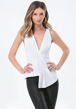 bebe Deep V Pleated Front Top